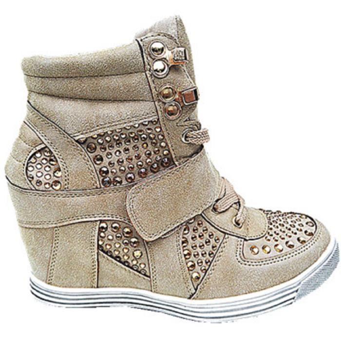 Baskets montante chaussures fille talon Fashionfolie888 TAUPE lacet 12 Femme compensées Tl1cJFK