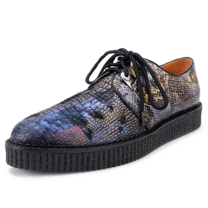 Derby Homme Cuir Platform Creepers Lacets Oxford Chaussures