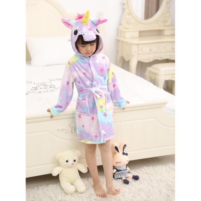 Enfants Filles Licorne Robe 2-3 3-4 4-5 5-6 ans Peignoir à Capuche Cosy Polaire