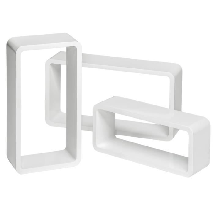 Tag re murale design tag re murale cube rectangulaire lot de 3 tag res m - Etagere murale cdiscount ...