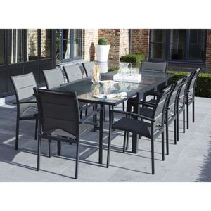 Ensemble table extensible de jardin 180 - 240 cm + 6 ...
