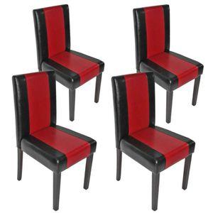 CHAISE Lot de 4 chaises Littau  simili-cuir, noir et roug