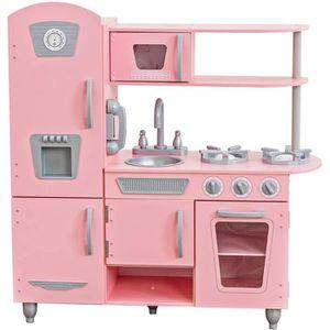 DINETTE - CUISINE KIDKRAFT - Cuisine enfant en bois Vintage rose
