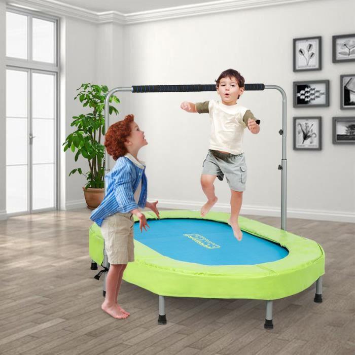 Trampoline fitness pour Deux personne hauteur réglable (142 * 92 * 128)cm Vert Bleu