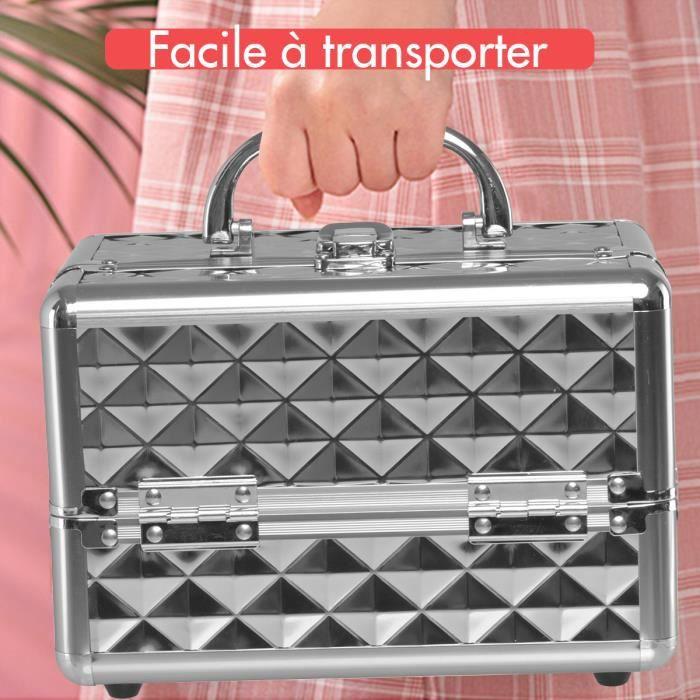 DREAMADE Mallette de Maquillage en Métal avec 3 Étagères et 1 Miroir Coffret Maquillage Femme Complet Portable avec Verrou (Argent)