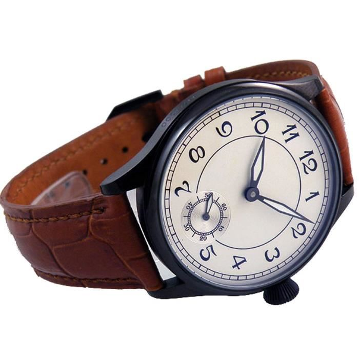 Montre Bracelet IM7JE Parnis Black Case Number White Dial Hand Wind Mechanical See-through Back Watch Brown Leather