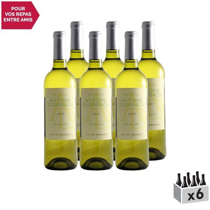 Selection Antoine Dürrbach Blanc 2017 - Lot de 6x75cl - Dauvergne - Ranvier - Appellation VDF Vin de France - Origine Vallée du