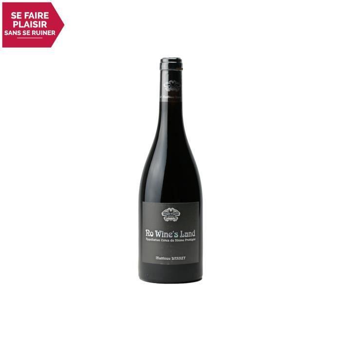 Côtes du Rhône No Wine's Land Rouge 2018 - 75cl - Domaine du Coulet - Vin AOC Rouge de la Vallée du Rhône - Cépage Syrah