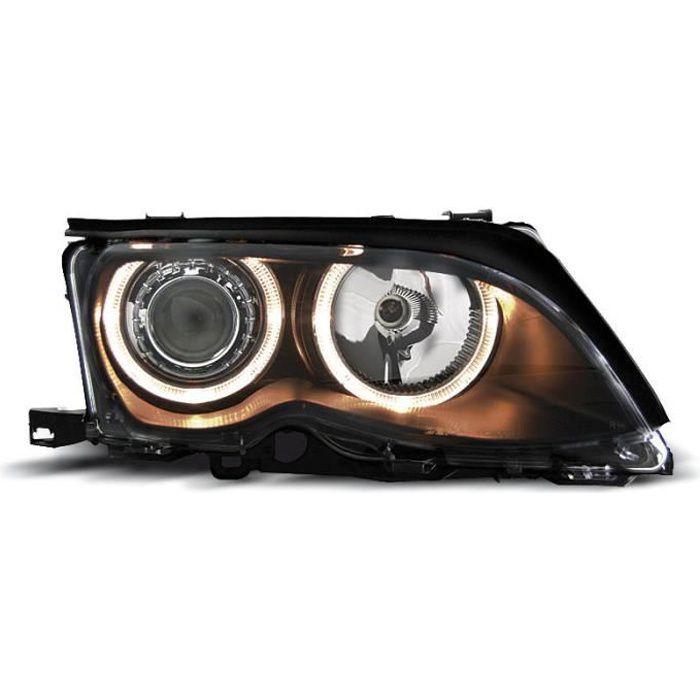 Paire de feux phares BMW serie 3 E46 berline 01-05 angel eyes noir (M86)