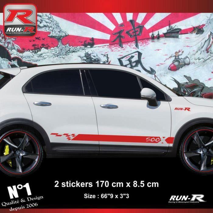 Sticker bas de caisse FIAT 500X aufkleber - Rouge - ADNAuto