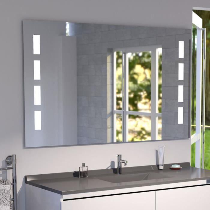 Miroir anti-buée PRESTIGE 140x80 cm - éclairage intégré à LED et interrupteur sensitif