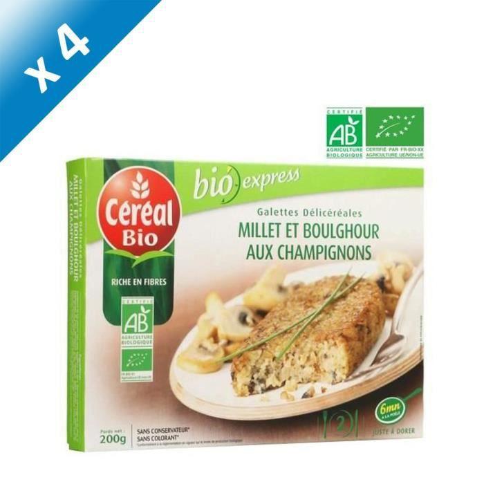[LOT DE 4] CEREAL BIO Galettes de céréales cuisinées Bio de boulghour, millet et champignons de Paris Bio - 200 g
