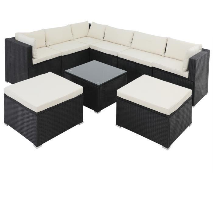 Salon de jardin noir polyrotin 26 pièces lounge ensemble de jardin set table canapé de jardin modulable coussins crème housses