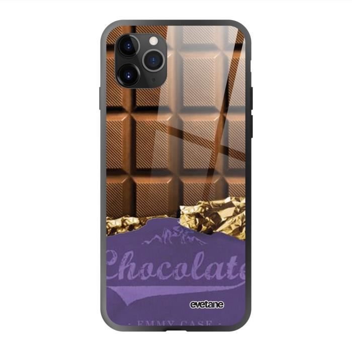 Coque iPhone 11 Pro Max soft touch noir effet glossy Chocolat Design Evetane