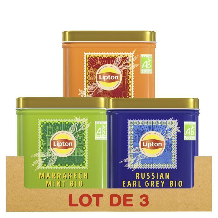 LIPTON - Lot de 3x150g - Thés en Vrac, Assortiment de 3 thés noirs et verts, 100% d'origine naturelle, Agriculture Biologique