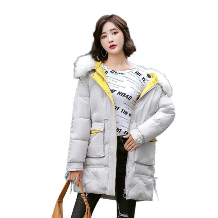 Longues Manteau, Femme Hiver Chaud Mince Manteau en Coton-Manteau à Capuche Fausse Fourrure Manteaux Rembourrée,Beige