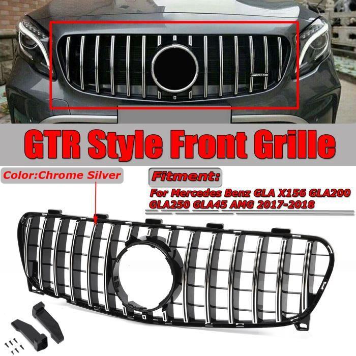 NEUFU Grille Pare Chocs Avant GTR Chrome Argent Pour Mercedes-Benz GLA X156 GLA200 GLA250 GLA45 AMG 2017-18