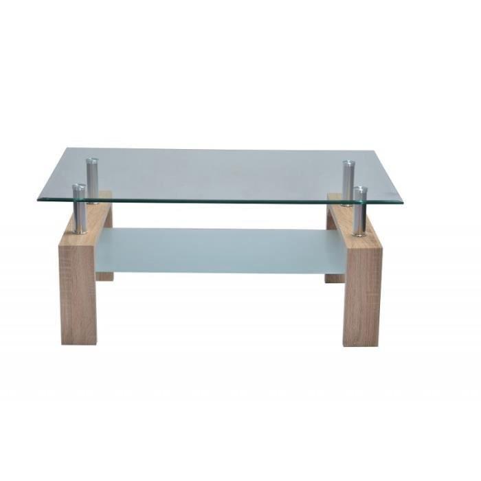 Table basse FLORENCE rectangulaire design plateau en verre et sous-plateau en verre sablé, pieds coloris chêne.: 60 Marron