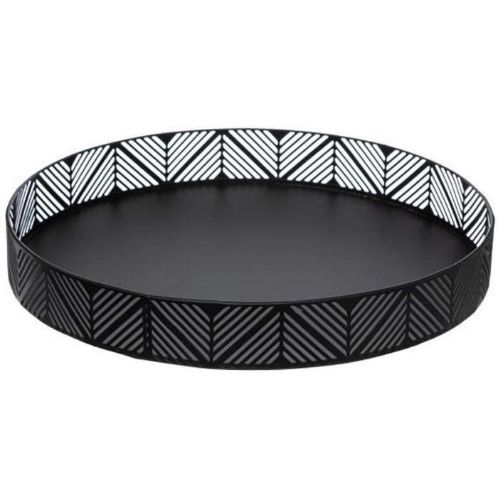 Secret de Gourmet - Corbeille plateau en métal noir frise D 30 cm Noir