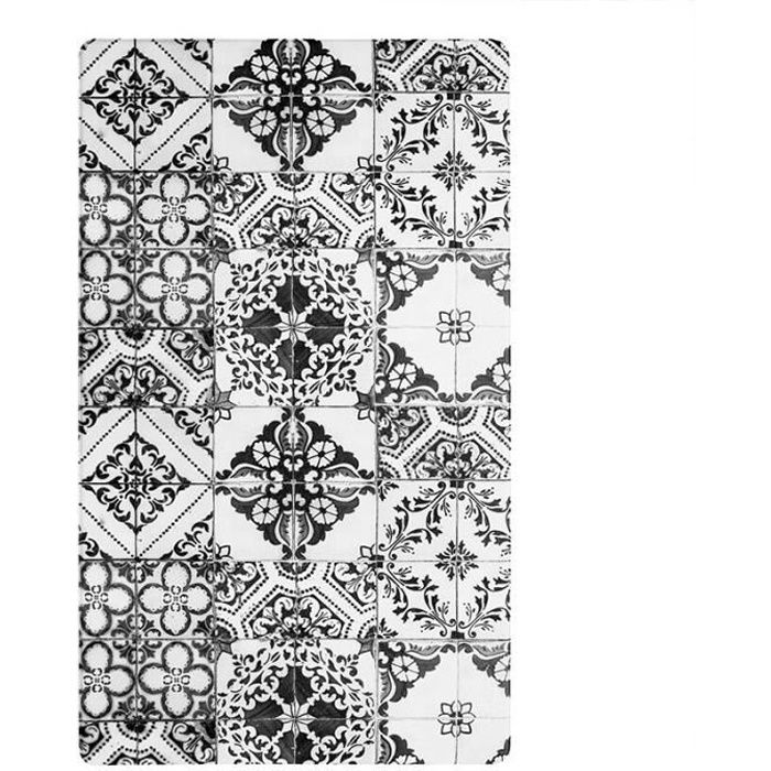 AZULEJOS - Tapis de cuisine imprimé carreaux de ciment noir 45x75