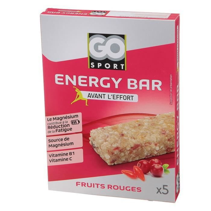 GO SPORT Barre de ceréales fruits rouge - 5x20g