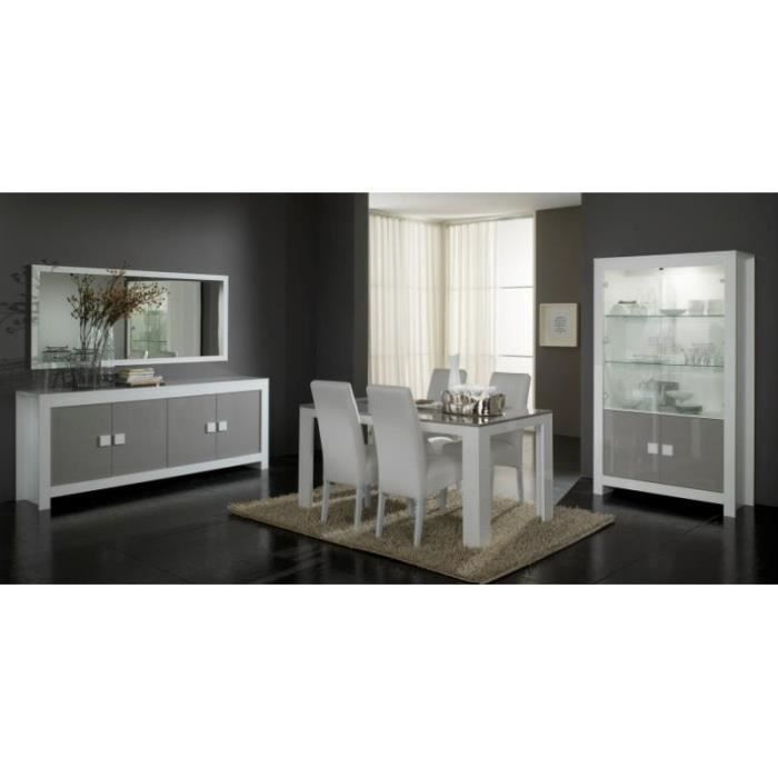 Salle manger compl te pisa laqu blanc gris brillant for Achat salle a manger complete