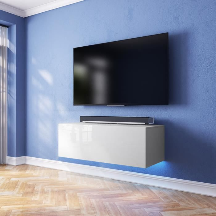 meuble tv lana avec led bleue blanc mat blanc brillant 100cm achat vente meuble tv meuble. Black Bedroom Furniture Sets. Home Design Ideas