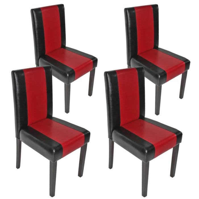lot de 4 chaises littau simili cuir noir et rouge achat vente chaise cuir pu cdiscount. Black Bedroom Furniture Sets. Home Design Ideas