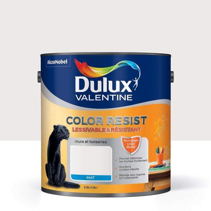 Peinture Color Resist Dulux Valentine Lessivable Et Resistante Pour Murs Boiseries Aspect Mat Blanc Pur 2 5 L Dulux