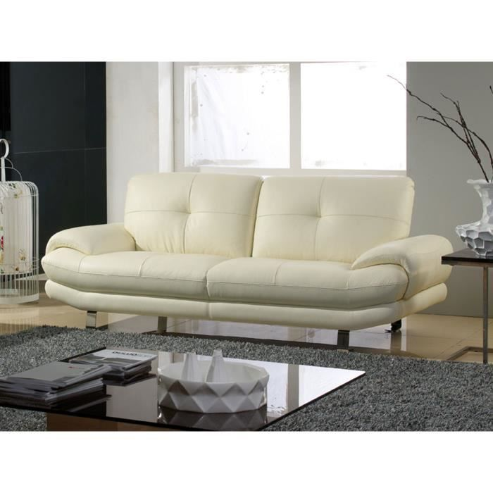 canap cuir 3 places swan beige achat vente canap sofa divan cdiscount. Black Bedroom Furniture Sets. Home Design Ideas