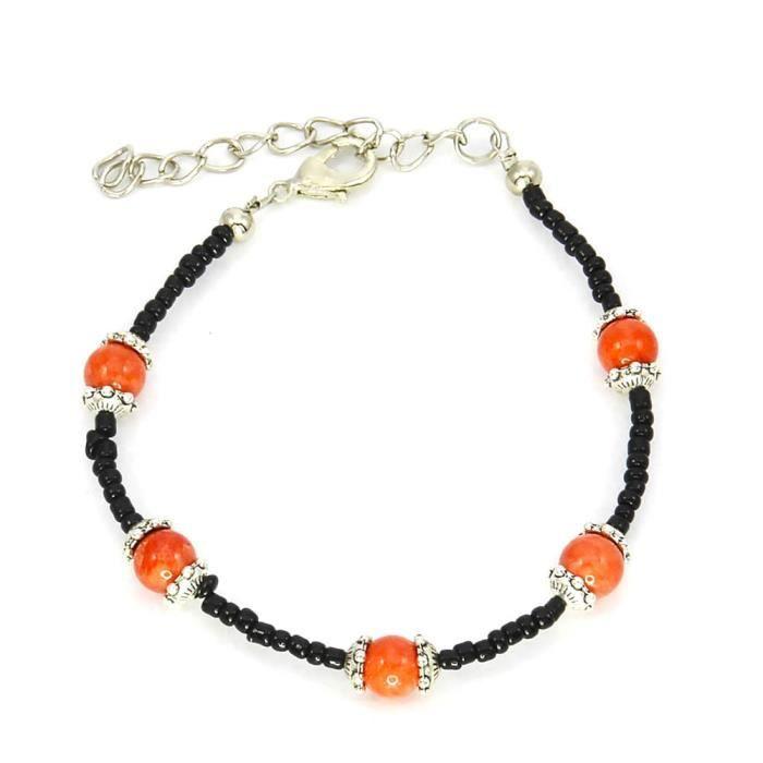 BRACELET - GOURMETTE Bracelet charms et perle Bijou fantaisie ethnique
