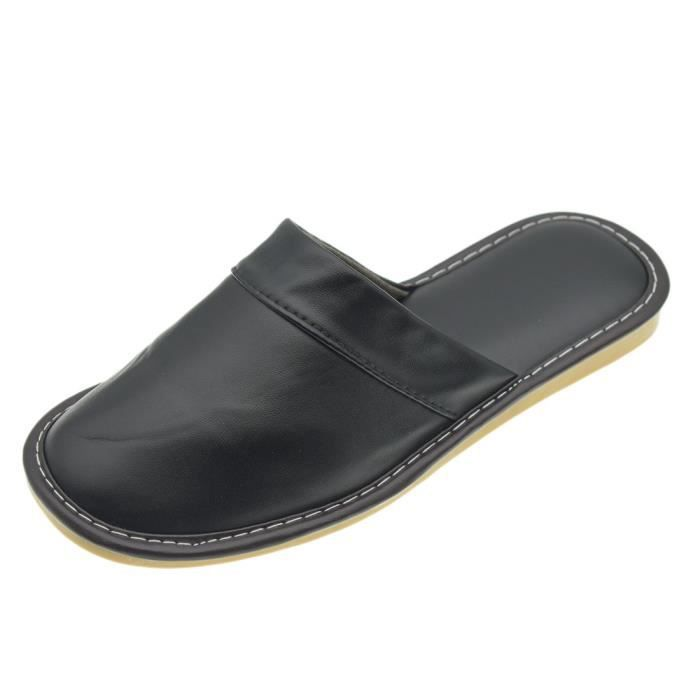 Comfy Mens Synthetic Leather House Indoor Slippers Shoes Water Resistant SDBSZ Taille-42