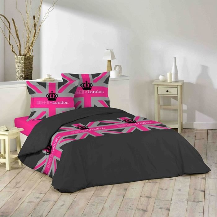 paris prix parure de lit 3 pi ces london girl 220x240cm achat vente parure de drap. Black Bedroom Furniture Sets. Home Design Ideas