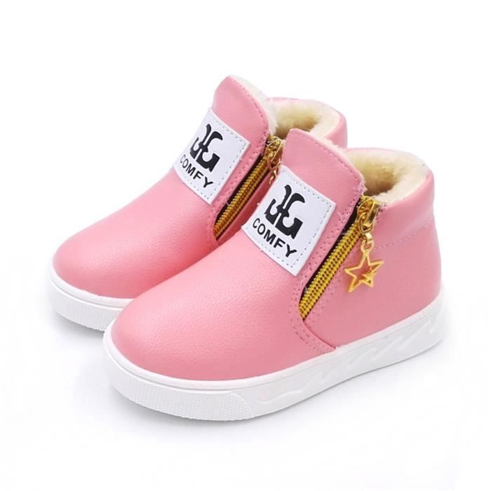 BOTTE Enfants Chaussures Fille Mode Fleur Kid Chaussures Solide Tous les Match Chaussures Casual@Rose rouge