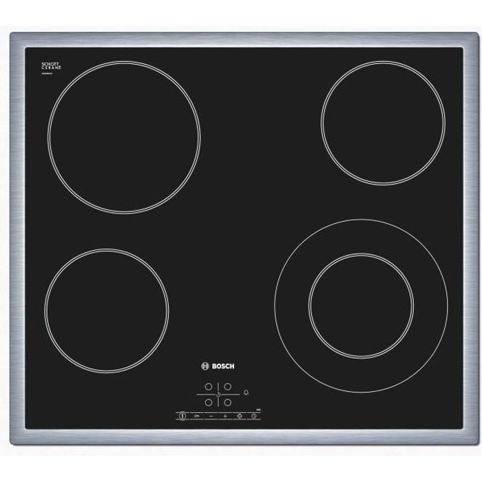 BOSCH PKF645B17E Plaque de cuisson Vitrocéramique - 4 foyers - 6600W - L57,5 x P50,5cm - Revêtement verre - Noir