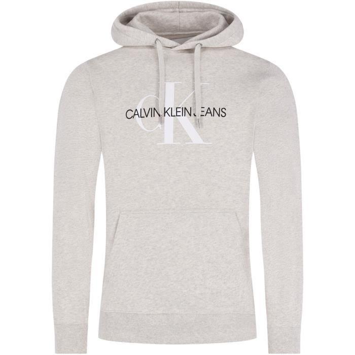 CALVIN KLEIN Sweat-shirt PGH Monogram Regular Gris chiné glacé Homme