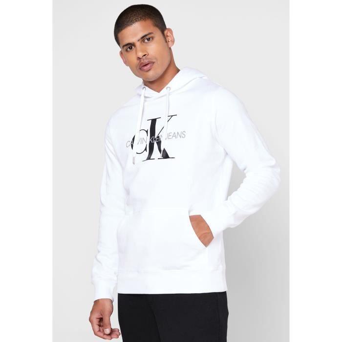 CALVIN KLEIN Sweat-shirt YAF Monogram Regular Blanc brillant Homme