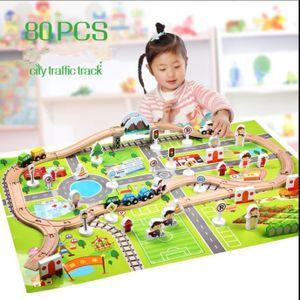 TABLE JOUET D'ACTIVITÉ Train en Bois Jouet Circuit Voiture Enfant 80 Pcs