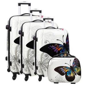 SET DE VALISES Lot de 3 valises + vanity rigides  blanc o rose