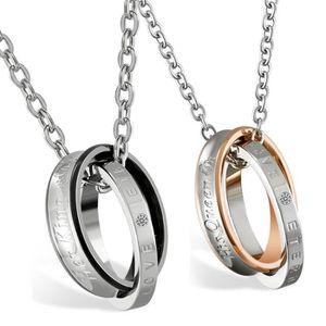 1 Paire Set Queen /& Couronne Bague Pendentif LOVE en Acier Inoxydable Couple Collier