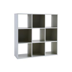 bibliotheque 9 cases 39 squadra 39 white grey achat vente. Black Bedroom Furniture Sets. Home Design Ideas