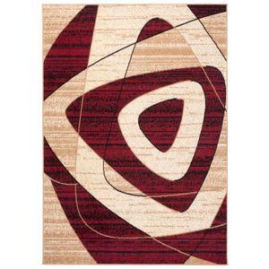 TAPISO Dream Tapis de Salon Chambre Design Moderne Beige Crème Rouge  Géométrique Fin 140 x 200 cm