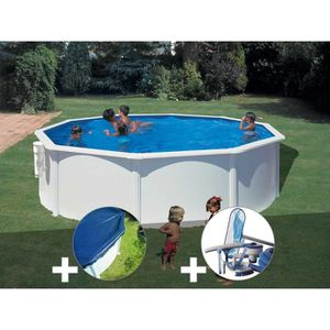 PISCINE Kit piscine acier blanc Gré Bora Bora ronde 4,80 x