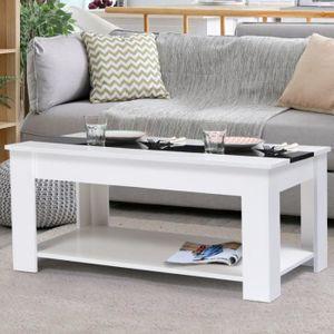 TABLE BASSE Table basse contemporaine bois blanc et noir GEORG