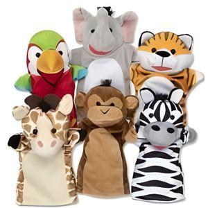 Lot de 3 marionnettes peluches /à main Animaux sauvages