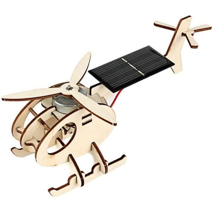 En bois Avion Energie Solaire Jouet Artisanat DIY Modèle Assemblage Construction Avion Puzzle Kit Mini-Avion Cadeau pour Enfants Ad