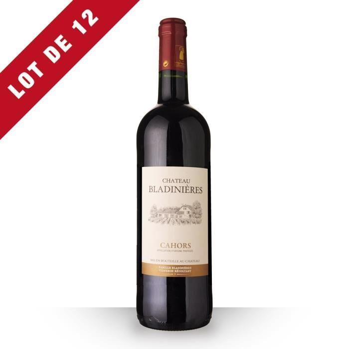 Lot de 12 - Château Bladinières 2016 AOC Cahors - 12x75cl - Vin Rouge