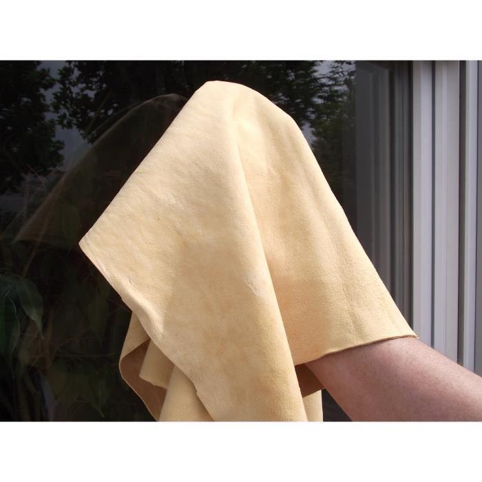 Authentique Premium Peau de chamois, peau de chamois ou Tissu cuir, en classiques bronzage intégral trans env. 40x60 cm