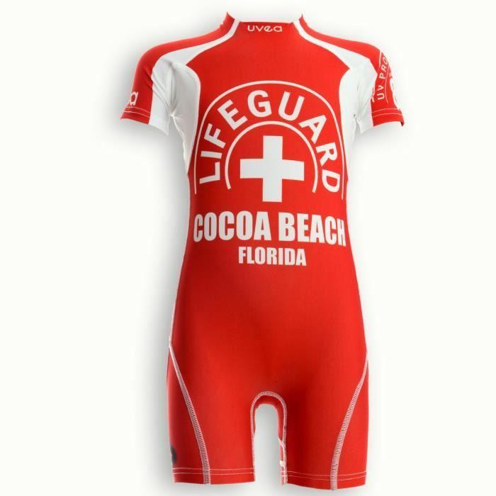 UVEA Combinaison maillot de bain kidsguard anti UV 80+ Manly - Taille 9/18 mois - Couleur rouge