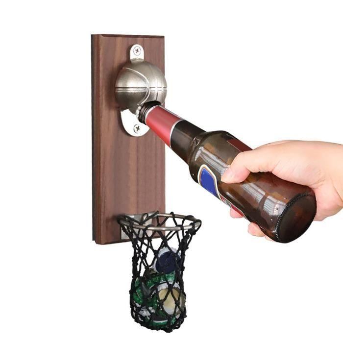 Ouvre-bouteille mural intégré - Ouvre-bière créatif, ouverture de Basket-ball + bouchons de bouteille - Modèle: Black - WMKPQA05129